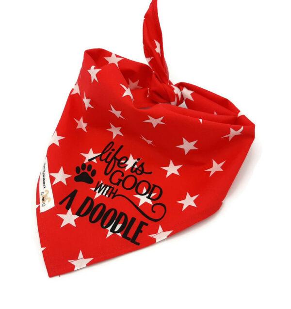 Bandana rood met grote witte sterren